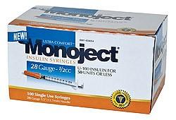 Monoject 28G Syringes 1/2cc 100's