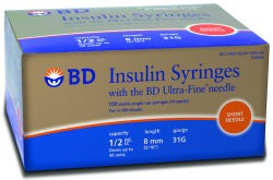 BD Ultra Fine Syringes 1/2cc 8mm 31g 90's