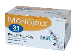 Monoject 31G Syringes 1/2cc 100's