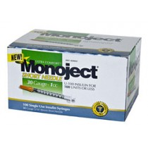 Monoject 30G Syringes 1cc 100's