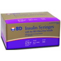 BD Ultra Fine Syringes 3/10cc 12.7mm 30g 100's