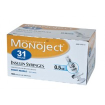 Monoject 31G Syringes 1/2cc 100's